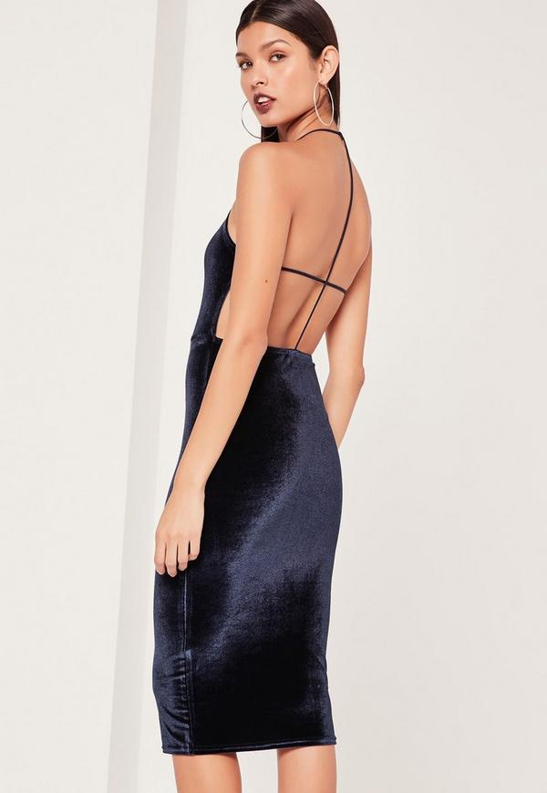 Velvet Strappy Back Midi Dress Navy