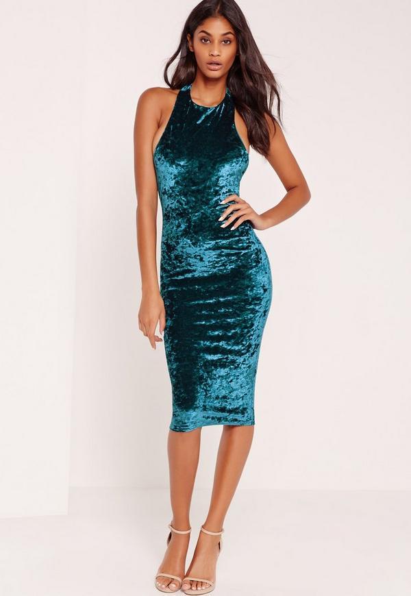 Crushed Velvet Halterneck Midi Dress Blue