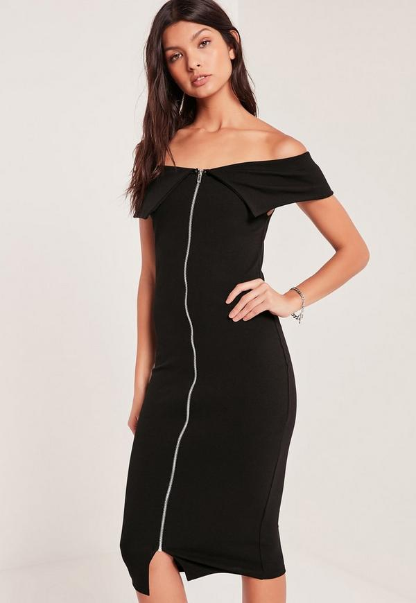 Zip Front Frill Bardot Midi Dress Black