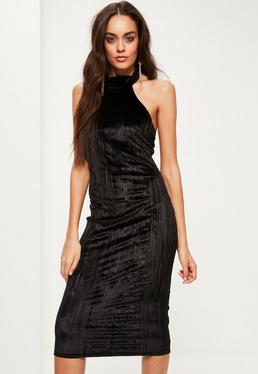 Black Pleated Velvet Halterneck Midi Dress