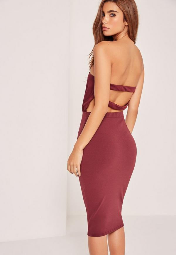 Bandeau Strap Back Midi Dress Burgundy
