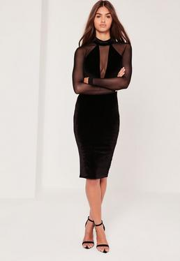 Mesh Sleeve Velvet High Neck Midi Dress Black