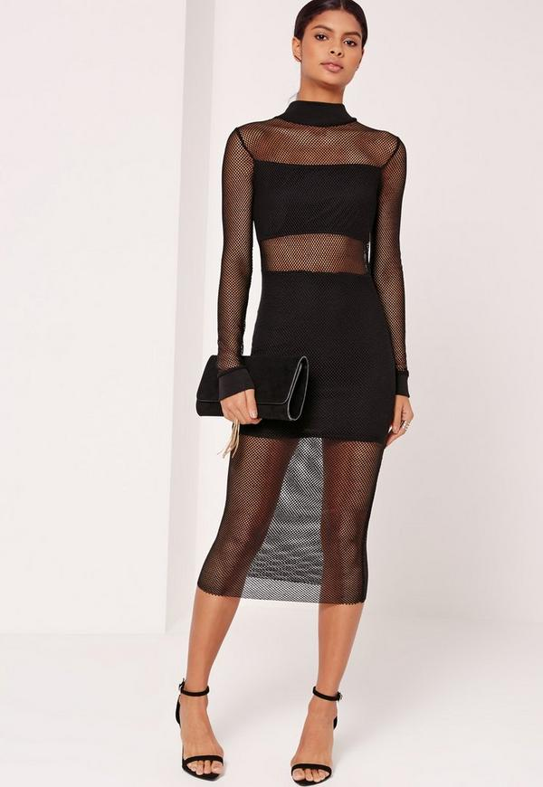 Fishnet Overlay Midi Dress Black