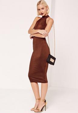 High Neck Open Back Sleeveless Midi Dress Brown