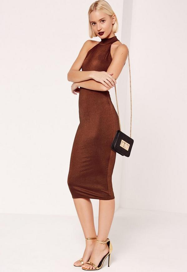 High Neck Open Back Sleeveless Midi Dress Brown