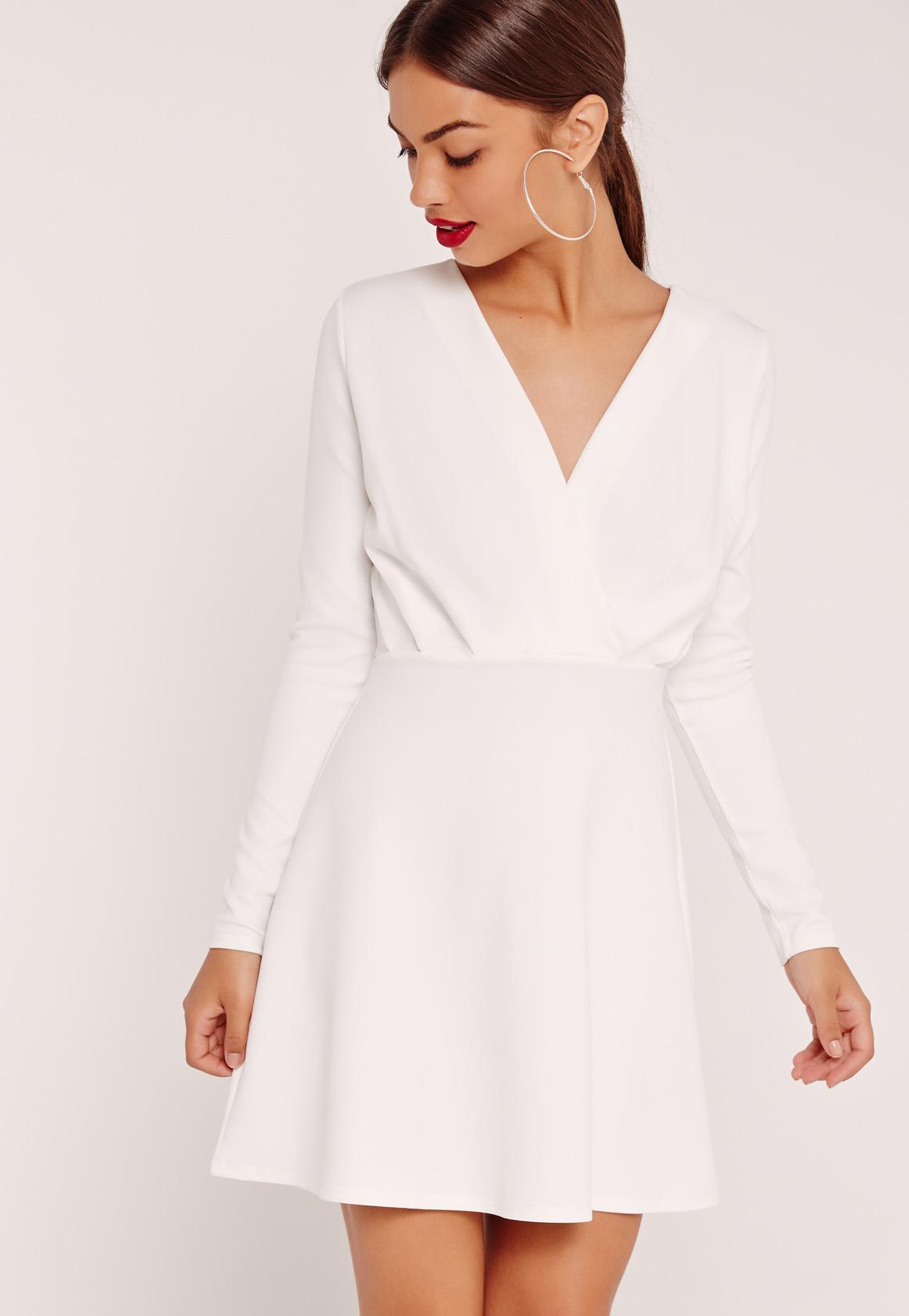 Pleated Plunge Long Sleeve Skater Dress White | Missguided Australia