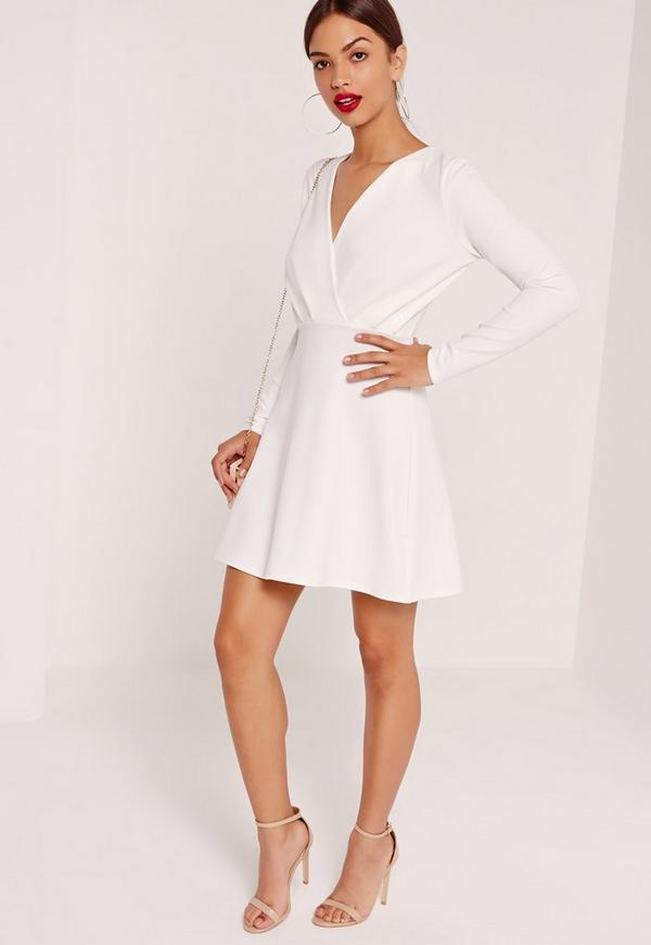 plunge skater dress sleeve pleated plunge sleeve skater dress white  missguided 9bcff5823d4f