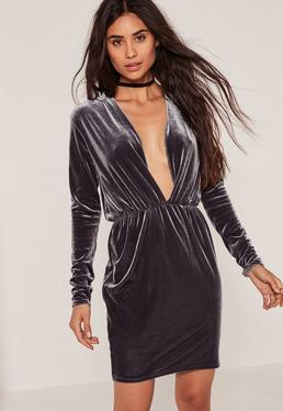 Long Sleeve Plunge Ruched Waist Velvet Dress Grey