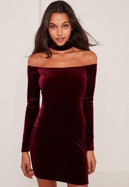 Burgundy Choker Neck Bardot Velvet Bodycon Dress