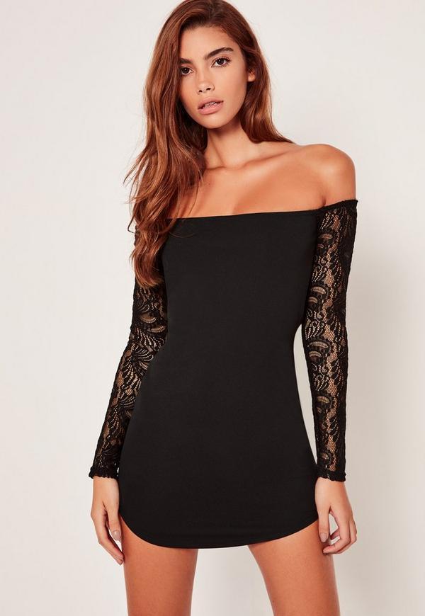 Lace Long Sleeve Bardot Mini Dress Black