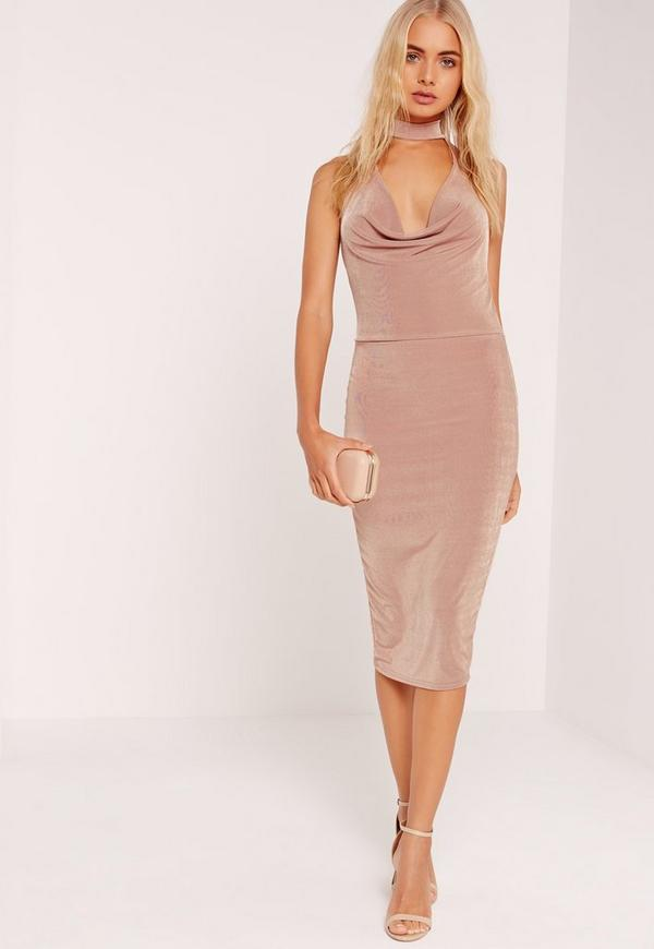 Choker Cowl Slinky Midi Dress Blush