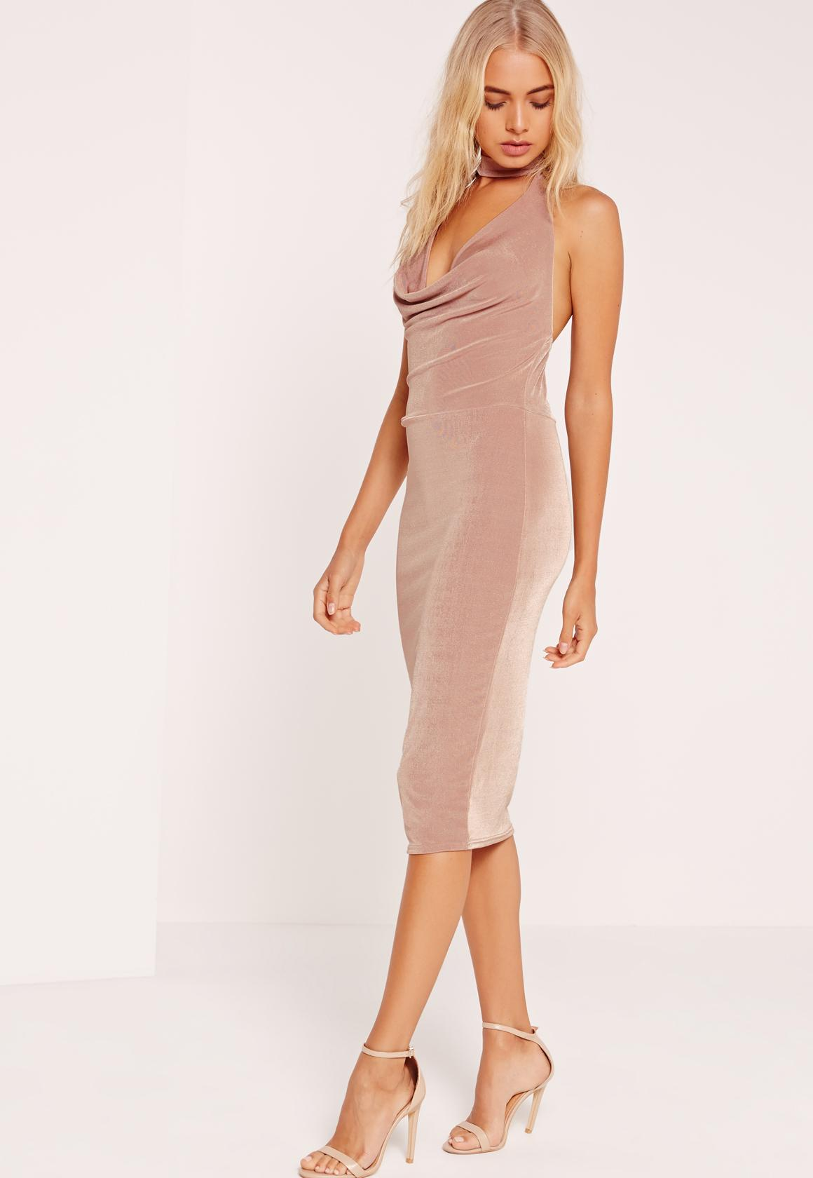 Choker Cowl Slinky Midi Dress Blush