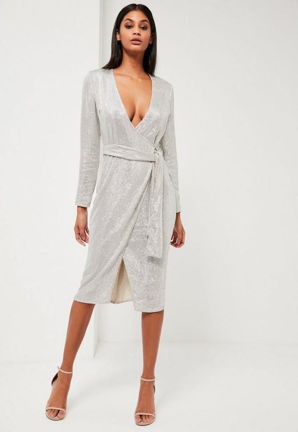 Peace + Love Silver Sequin Long Sleeve Wrap Midi Dress