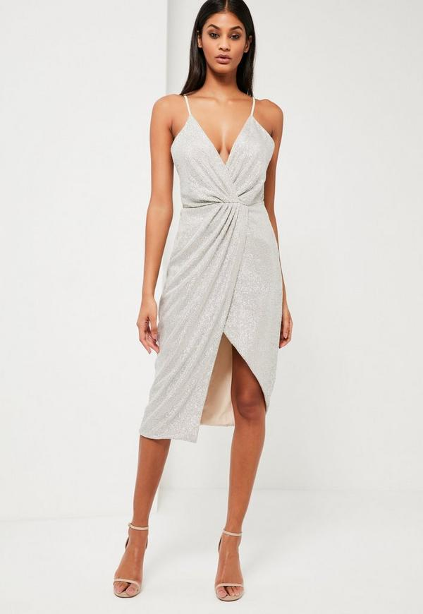 Peace + Love Silver Sequin Wrap Midi Dress | Missguided