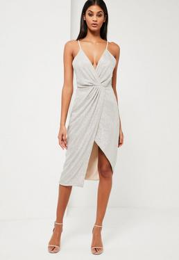 Peace + Love Silver Sequin Wrap Midi Dress