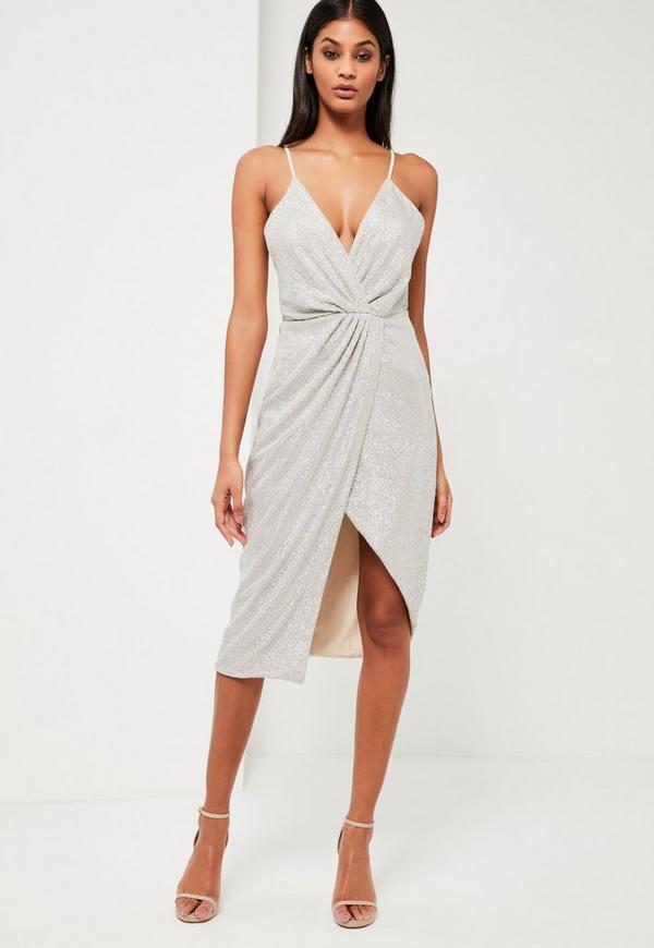Peace + Love Silver Sequin Wrap Midi Dress