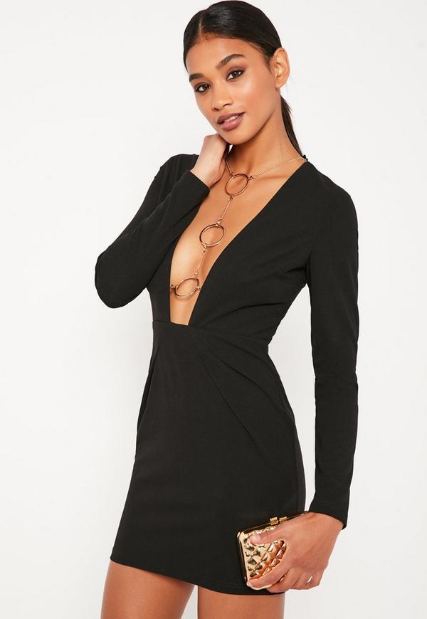 Black Chain Harness Mini Dress