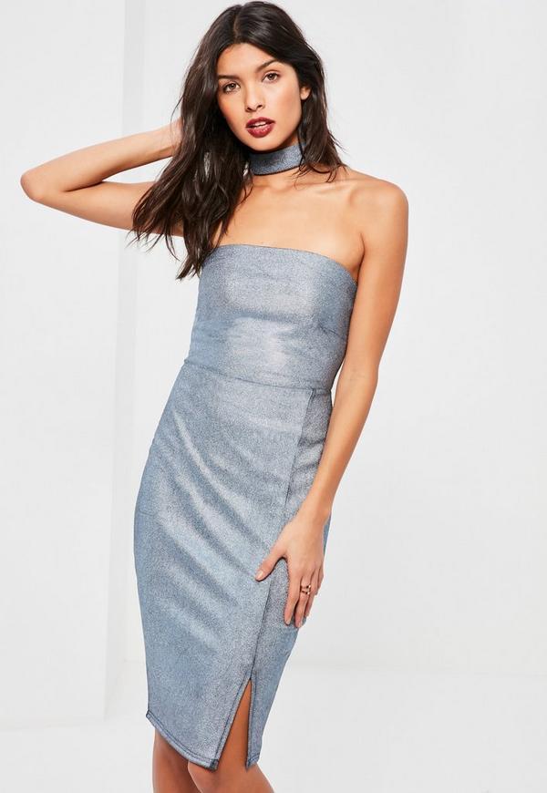 Blue Metallic Ribbed Choker Neck Midi Dress