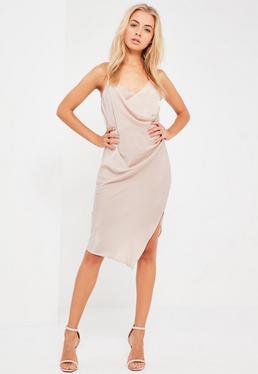Nude Silky Wrap Cami Midi Dress