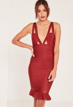 Premium Red Bandage Frill Hem Midi Dress