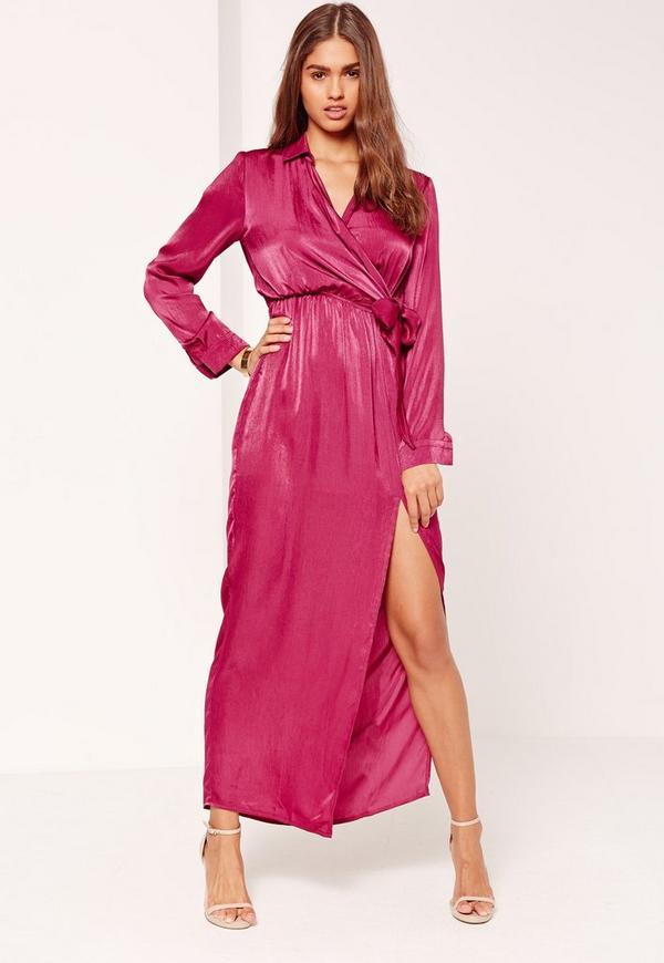 Satin Wrap Collar Maxi Dress Pink