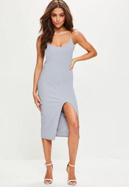 Strappy Scoop Neck Midi Dress Grey