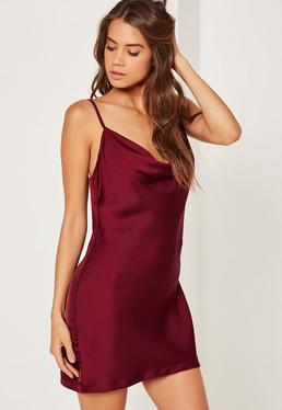 Silky Cowl Front Cami Dress Plum