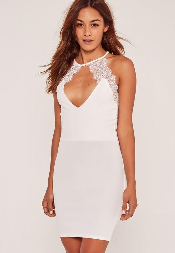 Lace Trim Keyhole Bodycon Dress White