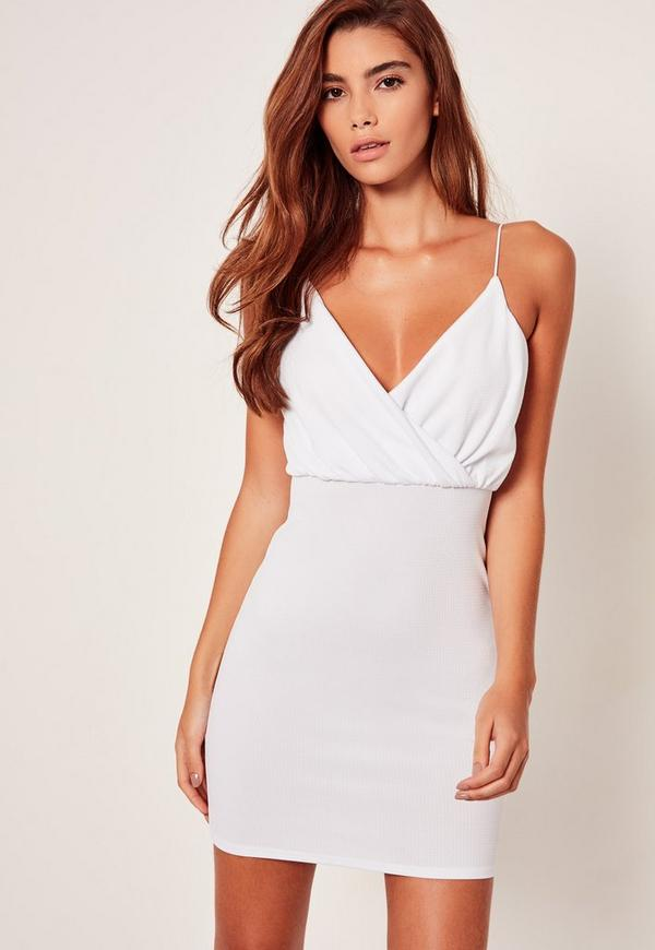 Strappy Wrap Textured Bodycon Dress White