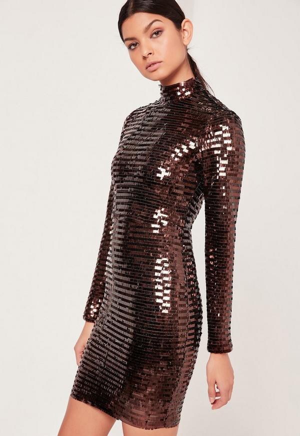 Premium Sequin High Neck Mini Dress Bronze-16