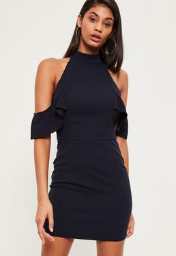 Navy High Neck Frill Detail Bodycon Dress