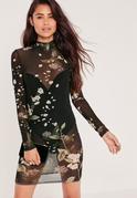 High Neck Printed Mesh Mini Dress Black Floral
