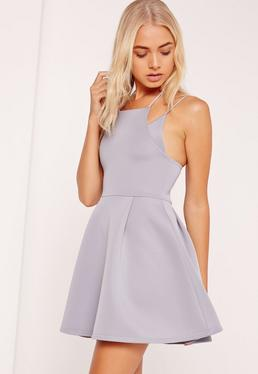 Double strap Bonded Scuba Skater Dress Grey