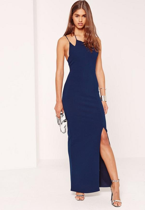 Double Strap Split Hem Maxi Dress Navy