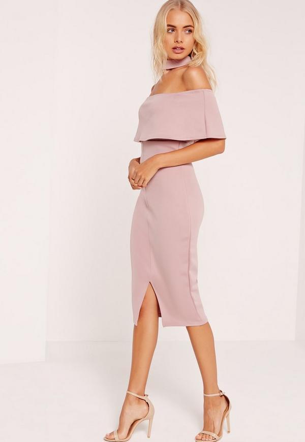 Choker Neck Zip Back Bardot Midi Dress Pink