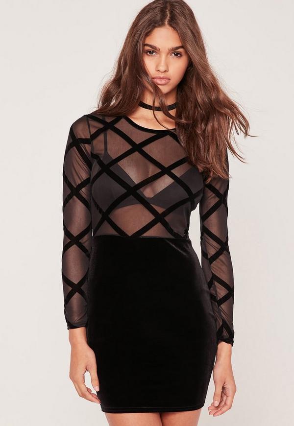 Flocked Grid Velvet Bodycon Dress Black