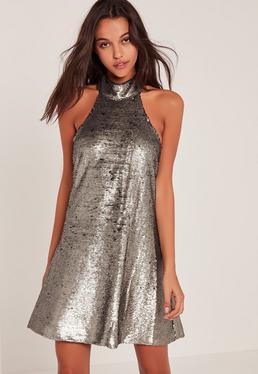 Hochgeschlossenes Swing-Kleid mit Neckholder und Pailletten in Silber