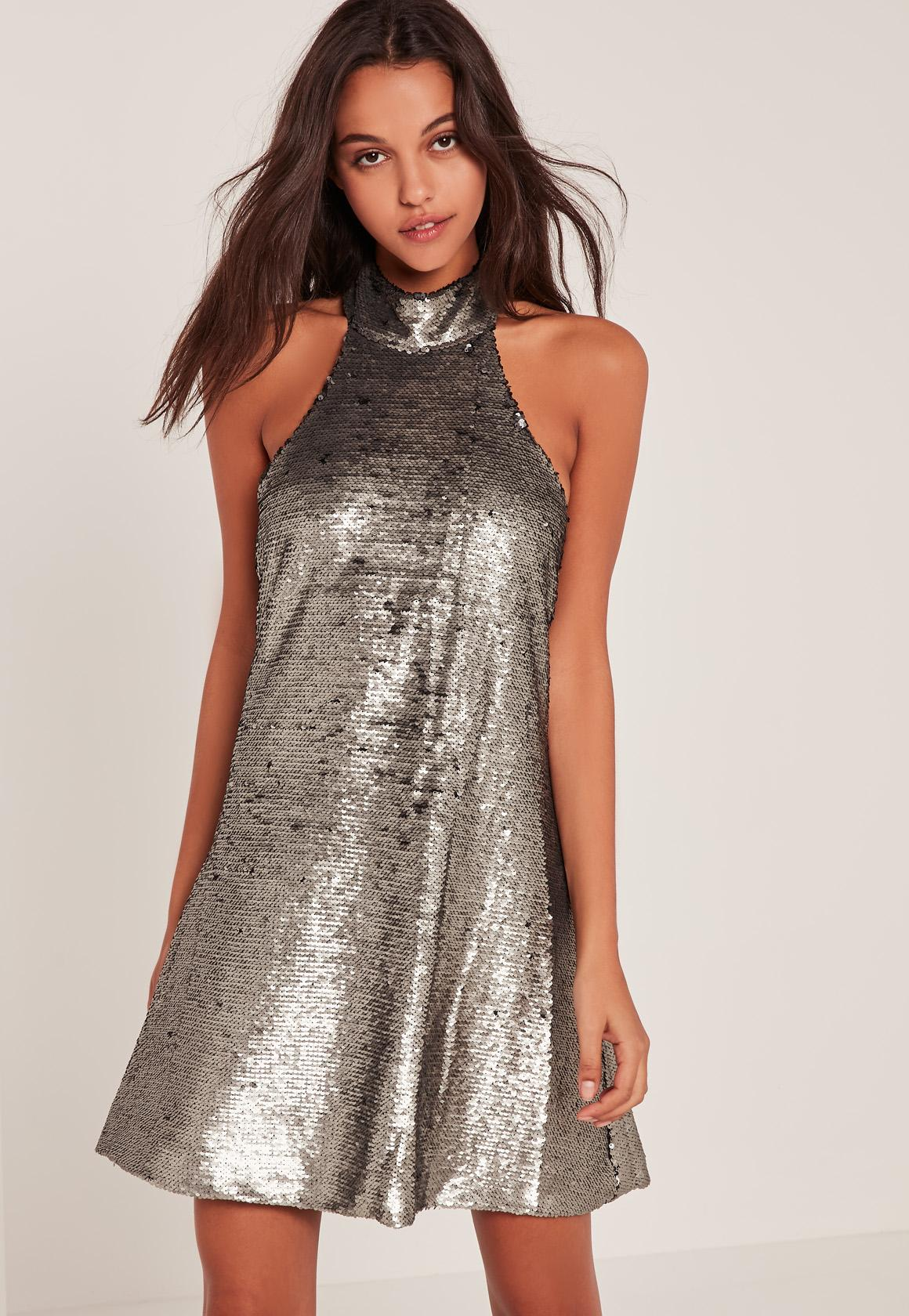 Silver High Neck Halter Sequin Swing Dress | Missguided