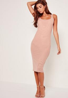 Scoop Neck Double Mesh Midi Dress Nude