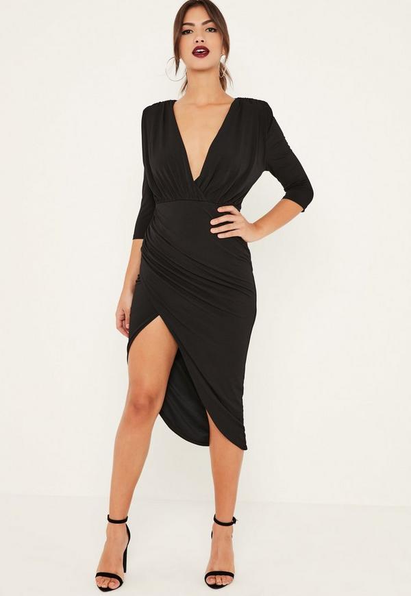 Black Slinky Wrap Asymmetric Midi Dress