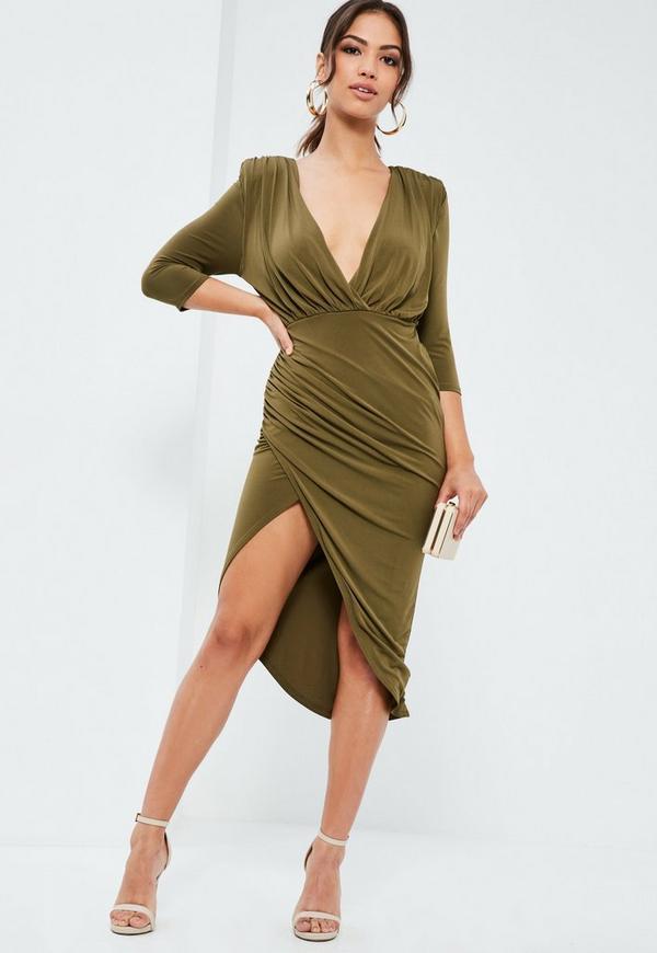 Green Silky Wrap Asymmetric Dress