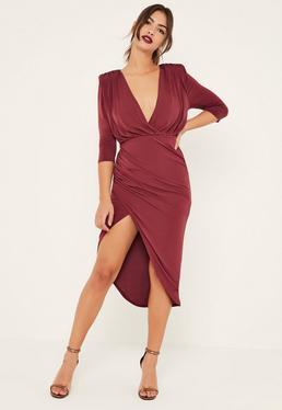 Burgundy Slinky Wrap Asymmetric Midi Dress