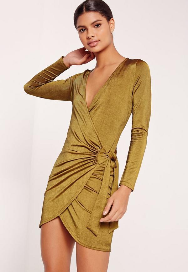 Slinky Ribbed Wrap Dress Green