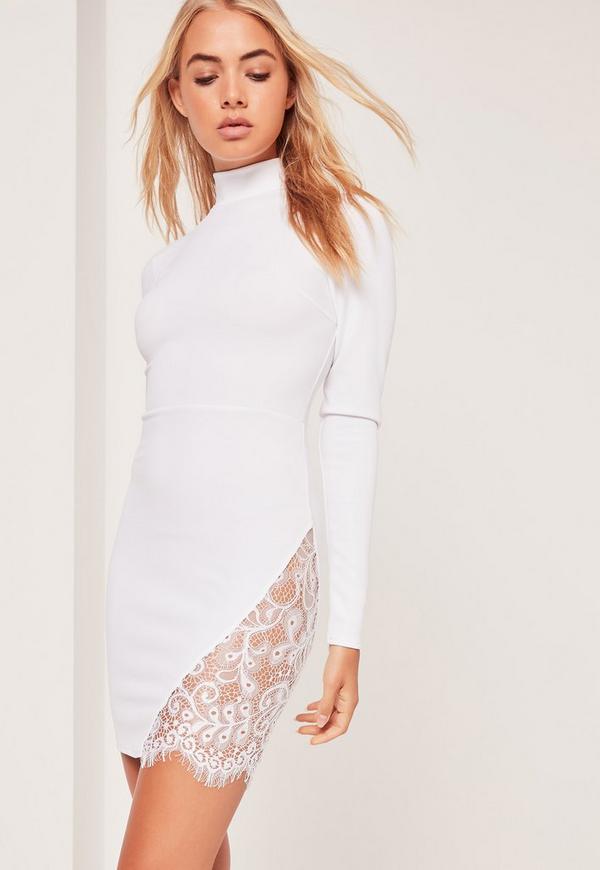 Lace Insert Thigh Split Bodycon Dress White