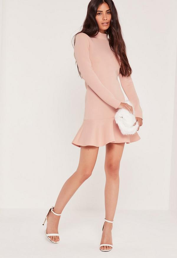 Long Sleeve Fishtail Hem Mini Dress Pink
