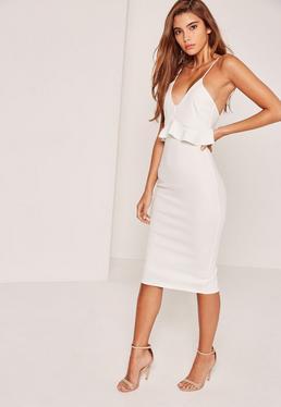 Strappy Frill Bodycon Dress White