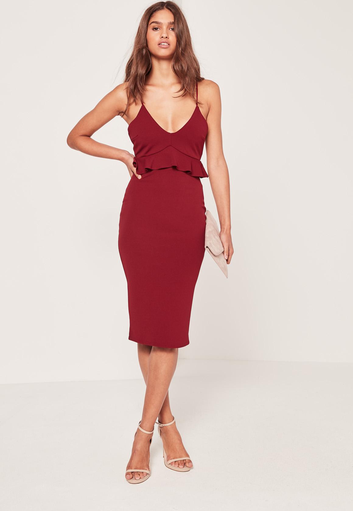 Strappy Frill Bodycon Dress Burgundy