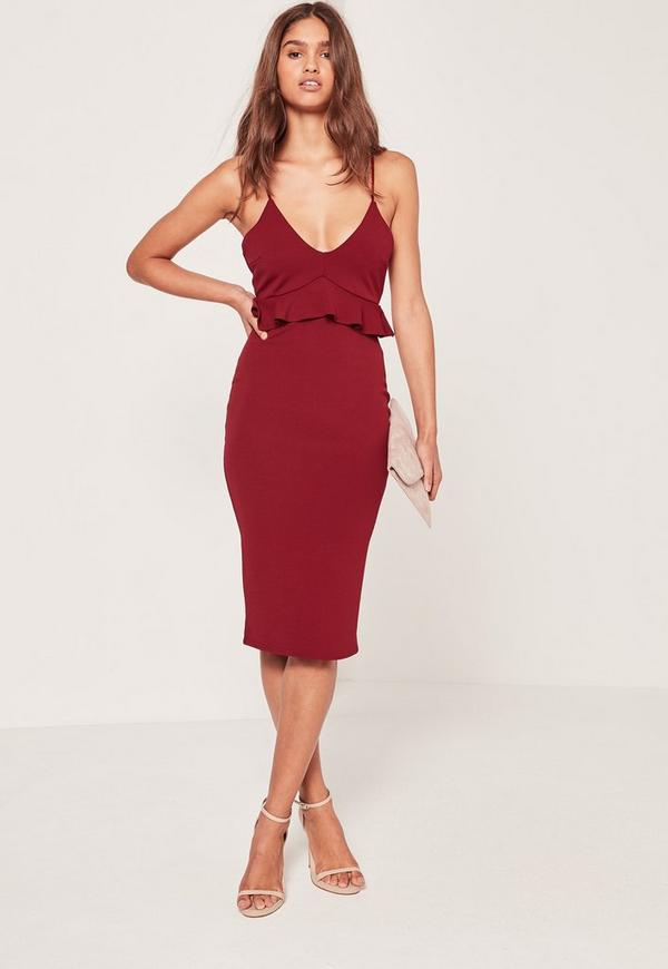 Strappy Frill Bodycon Dress Burgundy