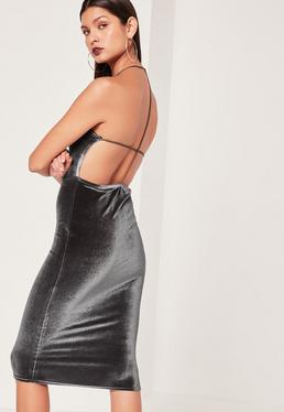 Velvet Strappy Back Midi Dress Grey