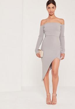 Ribbed Bardot Asymmetric Wrap Dress Grey